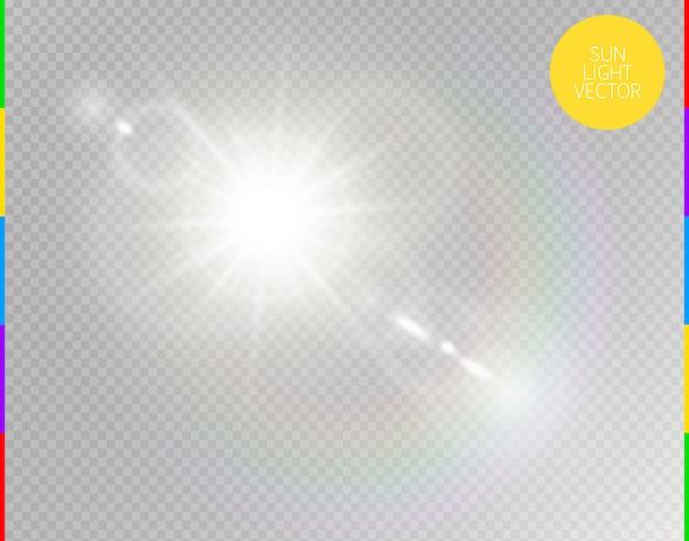 Вектор прозрачный солнечный свет специальный объектив бликов эффект света.