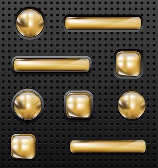 穴があいた背景に設定された光沢のある黄金のボタン