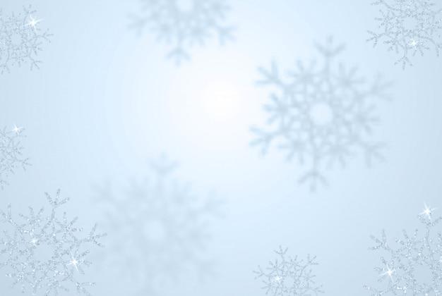 Вектор зимний фон с блеском снежинки, свет звезды.