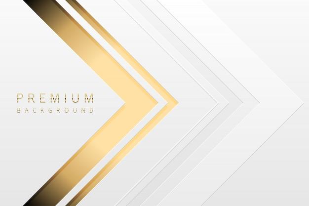 高級技術の背景。ゴールドストライプのホワイトペーパー素材層。矢印の黄金の形の光の壁紙