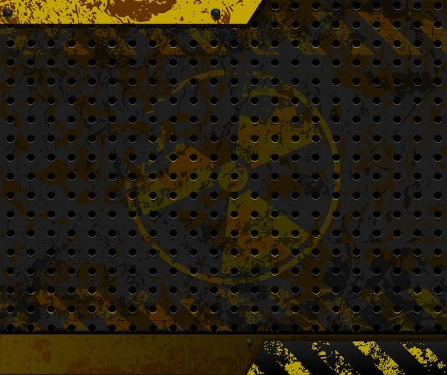 Промышленный фон. радиоактивный символ на ржавом металле.