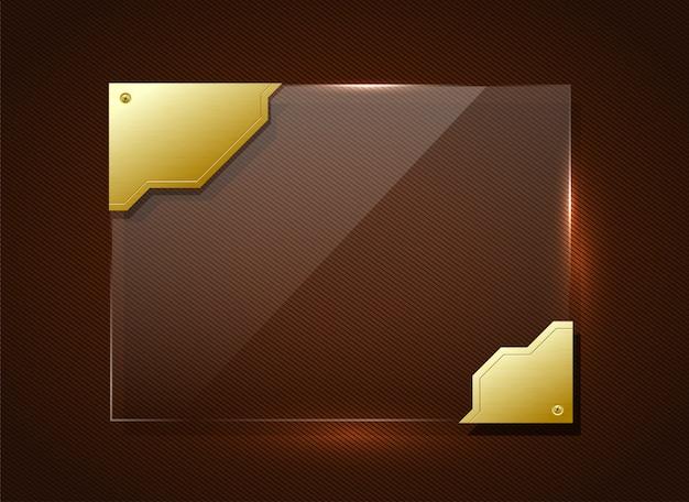 Стеклянный баннер в золотой раме