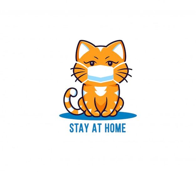 小さな猫、ロゴ入りのテキストコロナウイルスの流行のために家にいる。面白いキティの漫画のキャラクター