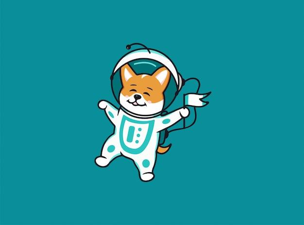 小さな宇宙飛行士の犬のコーギー、スペースのロゴ。面白い漫画のキャラクター