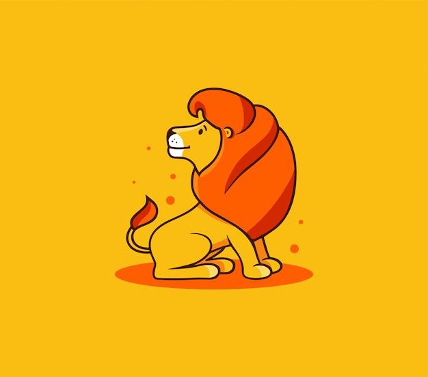 Король лев сидит, логотип. улыбнись мультипликационный персонаж