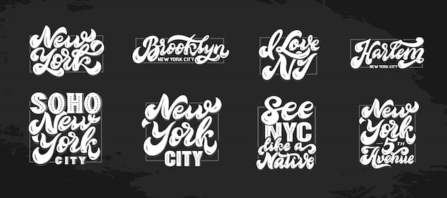ニューヨークの手描きのレタリングのセット
