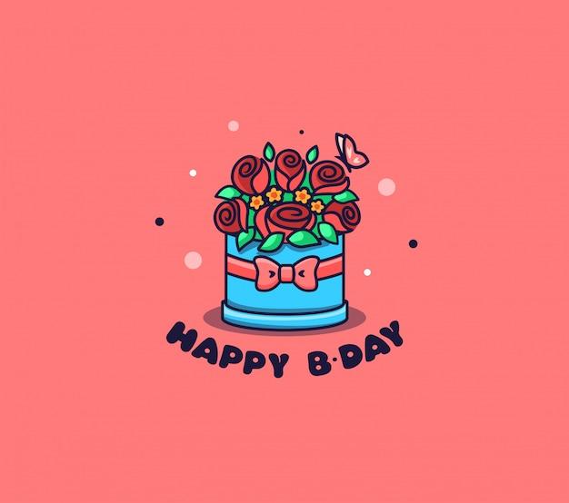 Коробка с логотипом цветы. логотип с днем рождения.