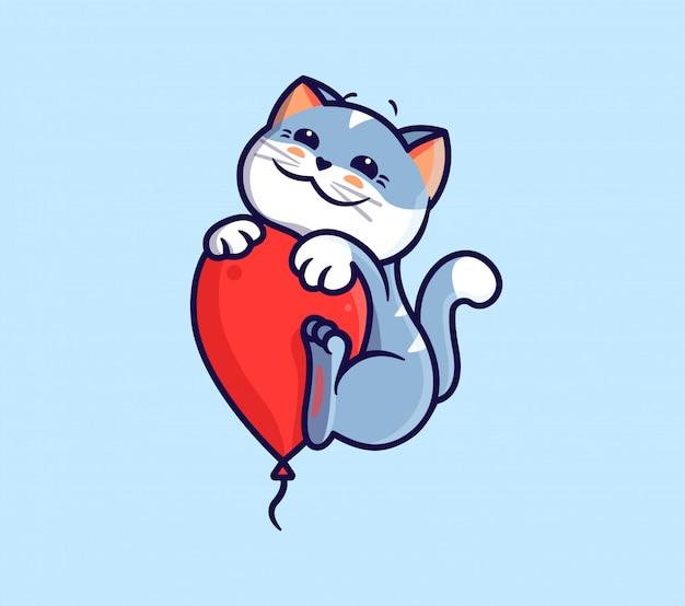 Логотип с днем рождения с кошкой и воздушным шаром. логотип с забавным котенком.