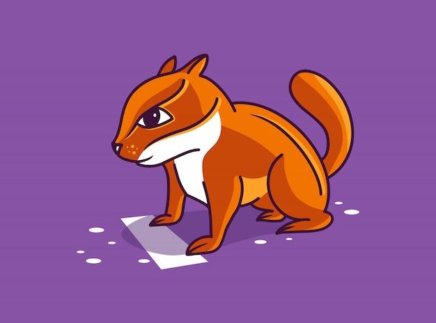 ランナー、面白いキャラクター、ポーズのロゴタイプを開始します。分離された紫色の背景にシマリスのステッカー。
