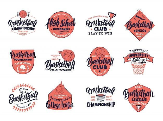 ビンテージバスケットボールのセット。バスケットボールクラブ、学校、リーグのカラフルなバッジ