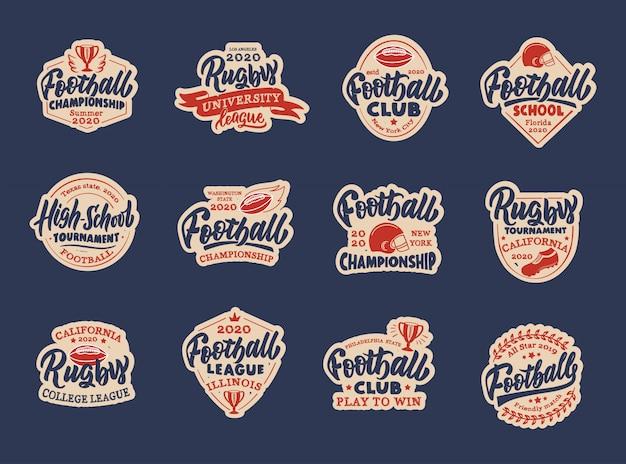ビンテージサッカーステッカー、パッチのセット。スポーツのカラフルなバッジ、テンプレート、エンブレム、サッカークラブ、学校、リーグのスタンプ