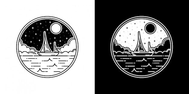 海のボートモノラインバッジデザイン