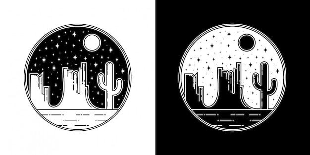 夜の砂漠モノラインバッジデザイン