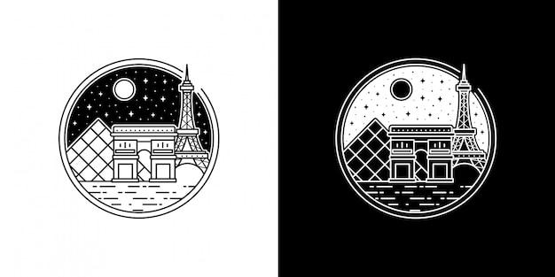 夜のエッフェル塔モノラインデザイン