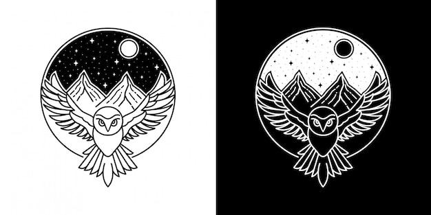 山モノラインバッジデザインのフクロウ