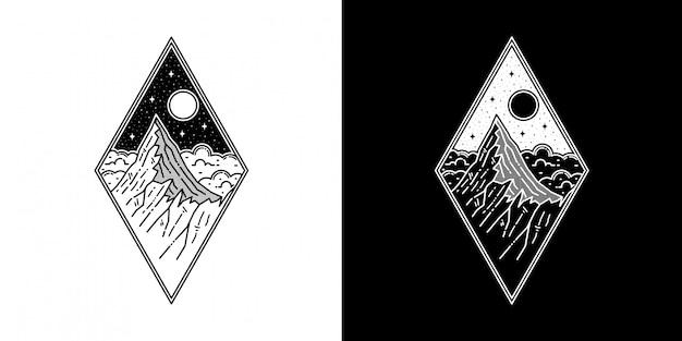 幾何学的な山モノラインタトゥーのデザイン