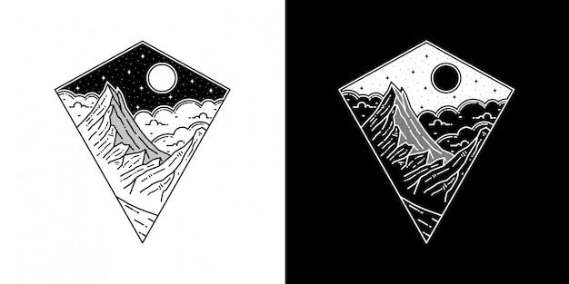 モノラインデザインの幾何学的な山のタトゥー