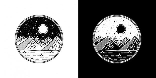 幾何学的な山のタトゥーモノラインバッジデザイン