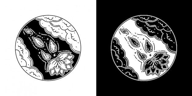 雲のタトゥーモノラインデザインの蓮の花