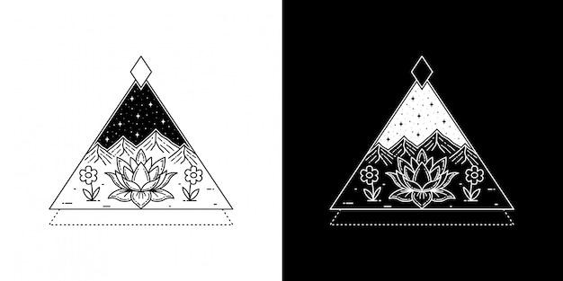 蓮の花と山のモノラインタトゥーのデザイン