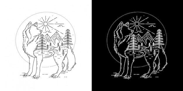 タトゥーモノラインデザインの幾何学的なオオカミ
