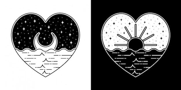 太陽と月の愛バッジモノラインデザイン