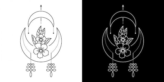 幾何学的な花のイラスト