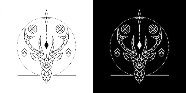 幾何学的な頭の鹿の図