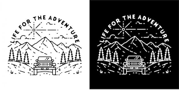 冒険のためのモノラインバッジデザインライフ