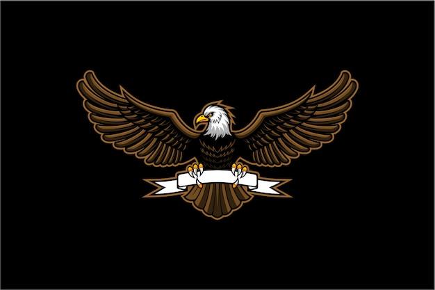 白頭ワシの翼をリボンで開く