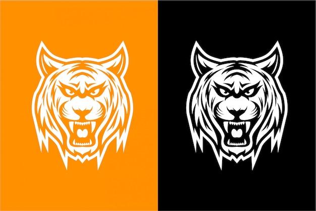 Черно-белая голова тигра