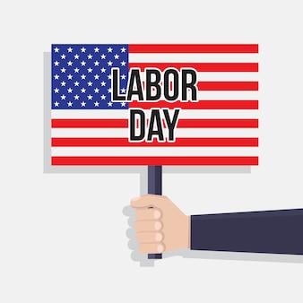 アメリカの労働者の日フラットデザインのベクトルイラスト