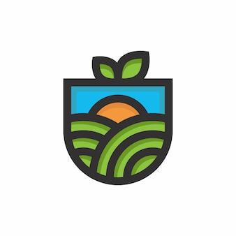 緑の自然ファームのロゴベクトルデザインテンプレート