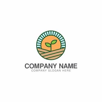 農業または緑の農場のロゴデザインテンプレート