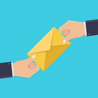 手と手紙、手紙を受け取る、イラストフラットデザインのスタイル