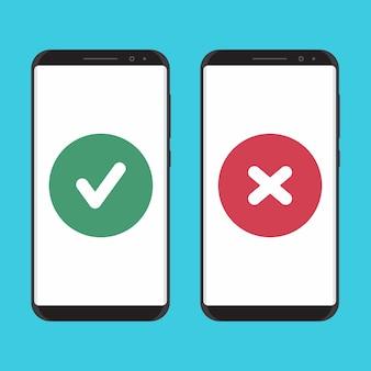 Смартфон безопасный и небезопасный плоский дизайн