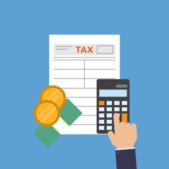 税務フォーム、お金、電卓、税金、フラットデザインのベクトル図を計算します