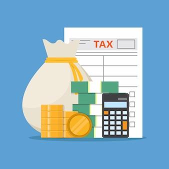 納税申告書、お金、電卓の図