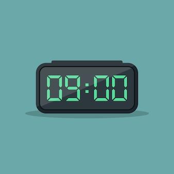 デジタル目覚まし時計フラットデザインイラスト