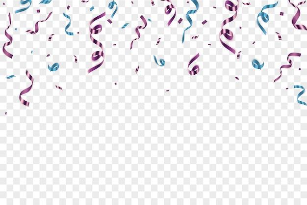 分離された紙吹雪とお祝いイラスト