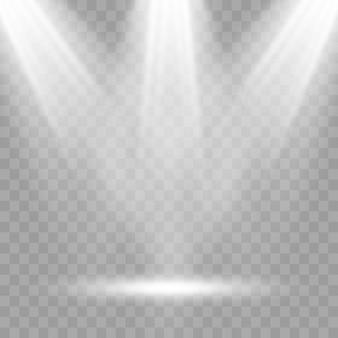 シーン照明、透明効果。スポットライトで明るい照明。