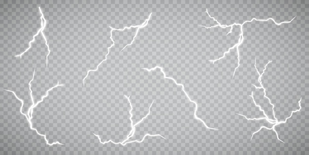 Набор молний. гроза и молнии. волшебные и яркие световые эффекты. иллюстрация