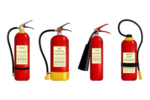 Огнетушитель. металлический глянцевый реалистичный красный огнетушитель. красный огнетушитель аварийной опасности.