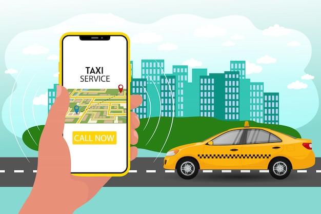 公共タクシーモバイルアプリケーションのコンセプト。ディスプレイ上のタクシーアプリでスマートフォンを持っている手。オンラインでカードドライバーを注文する