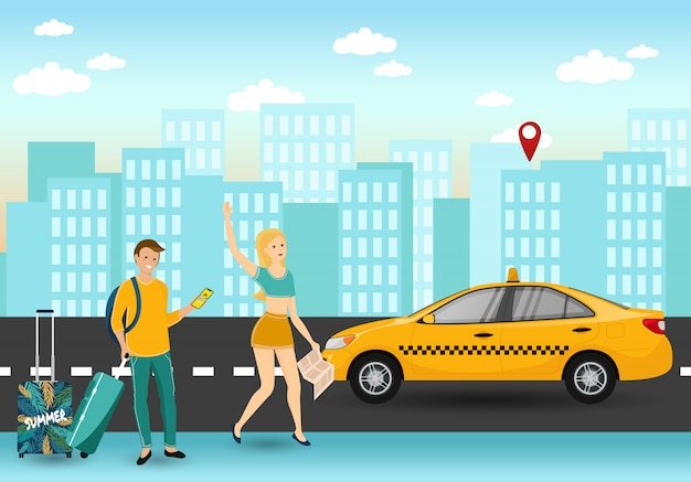 タクシーのオンラインサービスを注文します。手荷物、ガールコールオンラインサポート、オーダーキャブの人観光客。オンライン家賃。タクシー車の近くに立っているカップル。男と女の注文車両。
