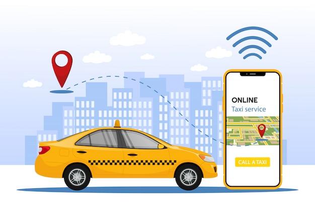 タクシーサービス。都市の背景にタクシーアプリと黄色のタクシーと携帯電話。タクシーサービスアプリの設計。市内地図位置図の携帯電話注文タクシー。