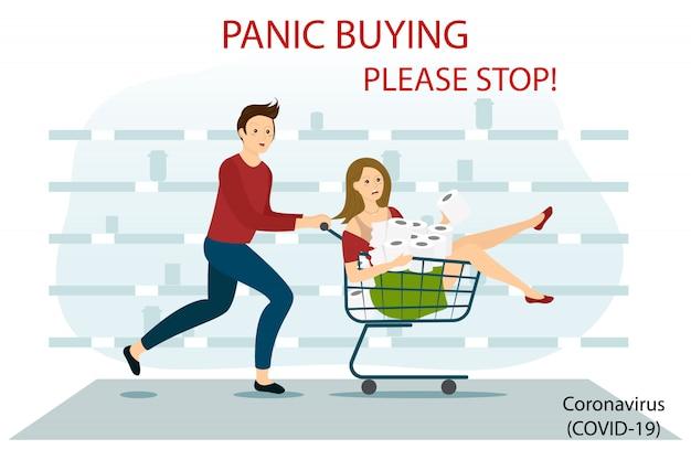 Коронавирусная паника по магазинам. испуганная женщина и мужчина, бегущий с полной покупкой тележки.