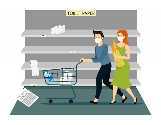 コロナウイルスのショッピングパニック。空のトロリーで走っているおびえた人々は、スーパーマーケットで見つけることができるすべての製品を購入します。空の店の棚と製品のないカート。