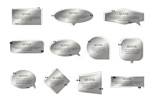 Цитаты кадров серебряного цвета на белом фоне. шаблон текстового поля, цитата современной цитаты речи пузырь и социальные сети цитирует диалоговые окна.