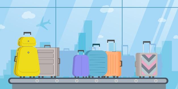 Конвейерная лента транспортная безопасность аэропорта, сканер багажа. иллюстрация